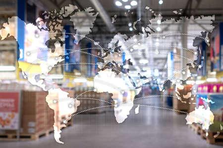 Map Global Logistics Partnership. Import Export concept. Reklamní fotografie - 135499107