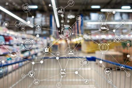 Import export and logistics word concept. Industrial background. Reklamní fotografie