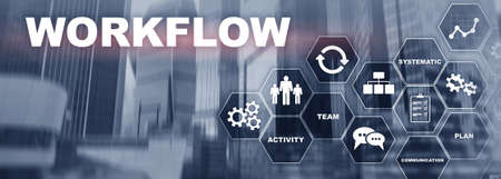 Automation of business workflows. Work process. Website banner.