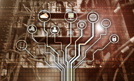 Telecommunication concept. Binary code on large data center background. Technology wallpaper