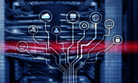 Telecommunication concept. Binary code on large data center background. Technology wallpaper.