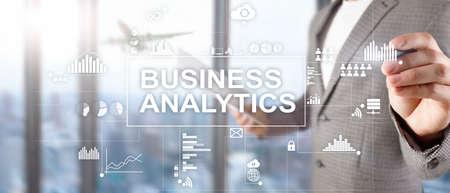 Business analytics concept on double exposure background. 版權商用圖片