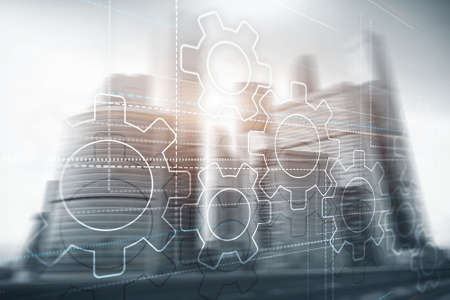 Business technology internet concept double exposure gears abstract background. 版權商用圖片