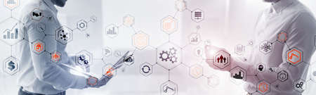 Abstract technology industrial Business process organisation structure website header banner.
