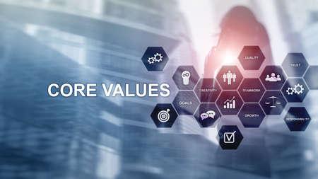 Kernwertekonzept auf virtuellem Bildschirm. Geschäfts- und Finanzlösungen.
