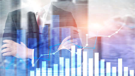 Financial growth graph. Sales increase, marketing strategy concept. 版權商用圖片