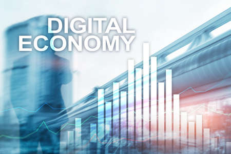 DIgital economy, financial technology concept on blurred background. 版權商用圖片