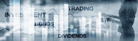 Obligaties dividenden concept. Abstracte zakelijke financiën achtergrond banner. Stockfoto