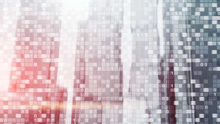 Digital code on blur city background. Abstract Binary code. 版權商用圖片