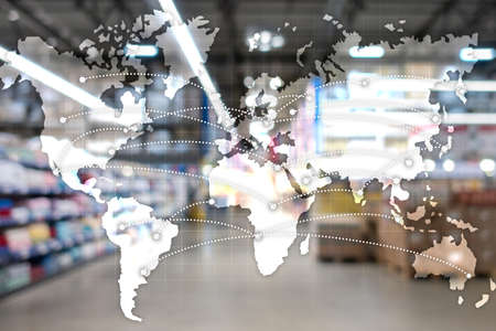 Map Global Logistics Partnership. Import Export concept.