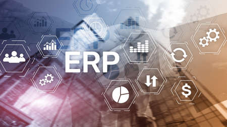 ERP system, Enterprise resource planning on blurred background. Business automation and innovation concept. 版權商用圖片