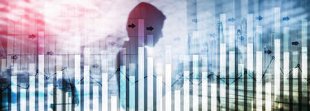 Investment trading financial analysis forex currency economy growth abstract background business people modern city.