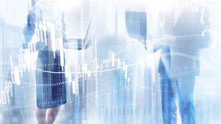 Forex trading, Financial market, Investment concept on business center background. 版權商用圖片