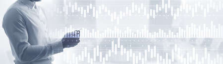 Volume candlestick graph Stock market exchange analysis. People on the background graphics.