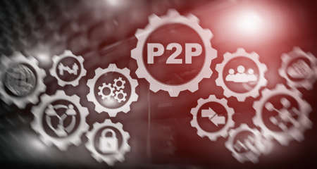 Peer to peer. P2P on the virtual screen with a server room background.