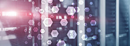 Information communication technology concept.Honeycomb panorama background.