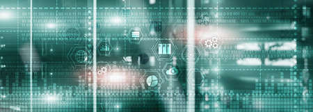 Binary code. ICT - information and telecommunication technology and IOT - internet of things concepts.