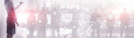 ommunication network. Horizontal Panoramic Business Background. Organisational structure on virtual banner.