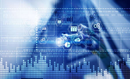 Binary code. ICT - information and telecommunication technology and IOT - internet of things concepts Фото со стока