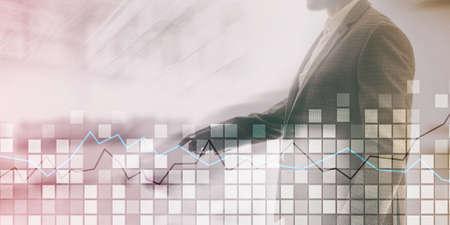 Squares and stock market graph. Mixed media stock market 2.0 Фото со стока