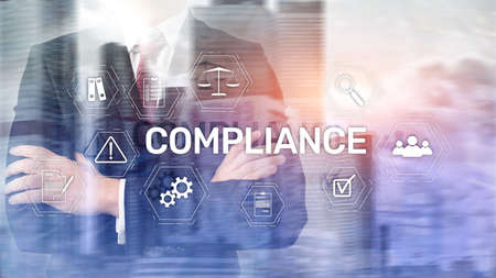 Compliance diagram with icons. Business concept on abstract background Фото со стока
