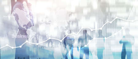 Business abstract background double exposure graph, chart and diagram. World wide map and. Global business and financial trading concept.
