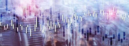 Financial Stock Market Graph. Website Economic Banner Фото со стока