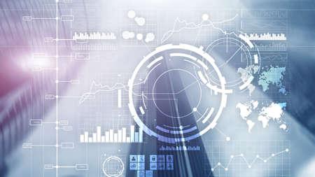 Financial dashboard with business intelligence BI. Blurred megapolis Фото со стока