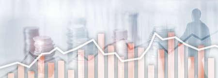 Orange trading charts. Stock exchange concept