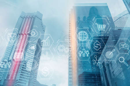 ERP Enterprise Resource Planning. Business intelligence control panel marketing on modern city of the future background.