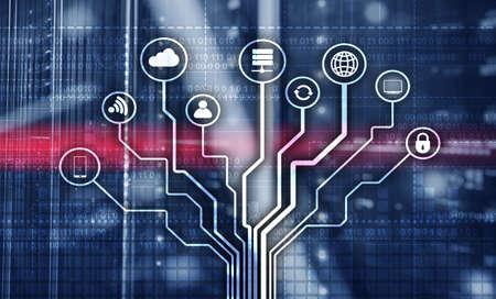Illustration Telecommunication concept. Binary code on large data center background. Technology wallpaper Banco de Imagens
