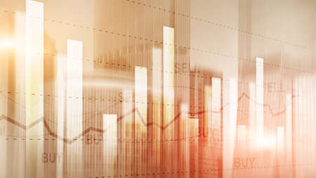 Candle stick graph chart of stock market investment trading on buildings background. Orange Illustration.