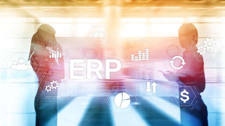 ERP system, Enterprise resource planning on blurred background. Business automation and innovation concept. Фото со стока