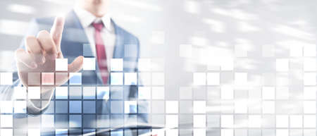 Abstract technology business background. People in suits in the background