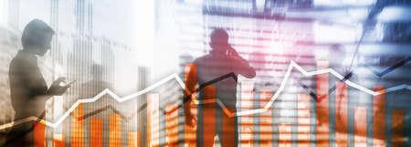 Orange trading charts. Stock exchange concept.