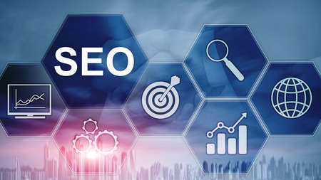 SEO - Search engine optimization, Digital marketing and internet technology concept on blurred background. Фото со стока