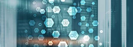 Information communication technology concept.Honeycomb panorama background Фото со стока
