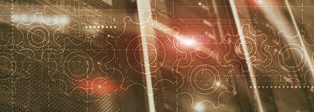 Gears on an elongated background. Website Header Technology Corporte Wallpaper.