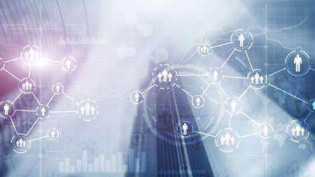 Social media concept on futuristic city background