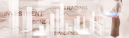 Bonds dividends concept. Abstract Business Finance Background Banner Фото со стока