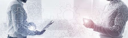 Gears mechanism on panoramic business background. Success Concept
