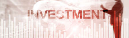 Investment concept. Elongated horizontal background. Website Header Banner Фото со стока