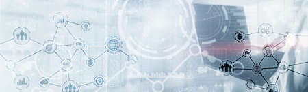 Abstract internet of thing technology automation smart industry website header concept
