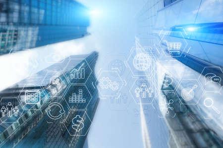 Unternehmensressourcenplanung. Business Intelligence Control Panel Marketing auf der modernen Stadt des zukünftigen Hintergrunds. ERP.