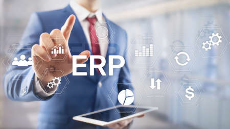 ERP system, Enterprise resource planning on blurred background. Business automation and innovation concept Stock Photo