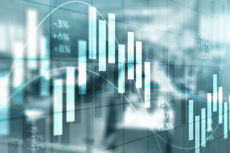 Stock exchange background. Abstract finance wallpaper. Blurred Traders Office