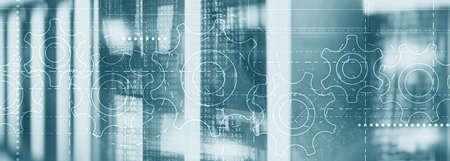Gears on an elongated background. Website Header Technology Corporte Wallpaper