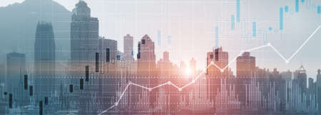 Financial concept investment graph chart diagram double exposure city view skyline
