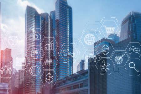 ERP Enterprise Resource Planning . Business intelligence control panel marketing on modern city of the future background. Standard-Bild
