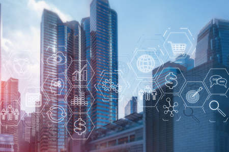 ERP Enterprise Resource Planning . Business intelligence control panel marketing on modern city of the future background. Stock Photo